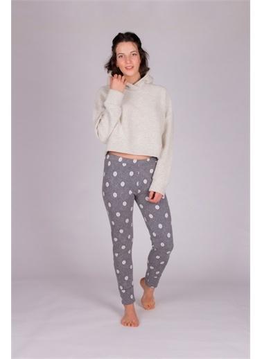 Hays Hays 60035B83S412111 Kapüşonlu Uzun Kollu Puantiyeli Alt Kadın Pijama Takımı Gri